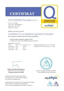GEOTHERM Certifikát EHPA na inštaláciu tepelných čerpadiel