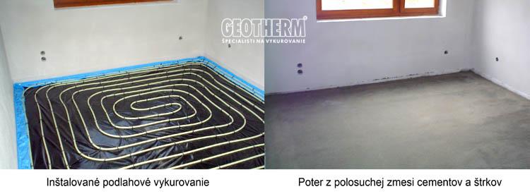 Potery - podlahové vykurovanie