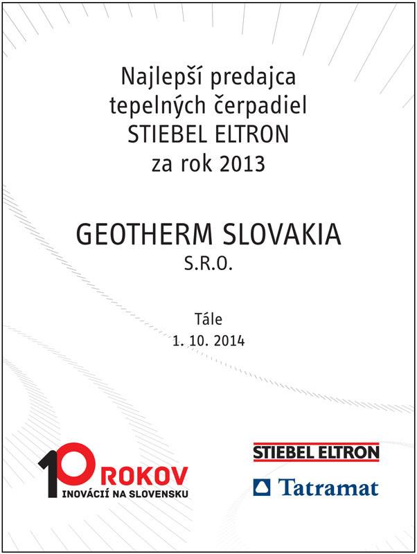 predajca tepelných čerpadiel 2013
