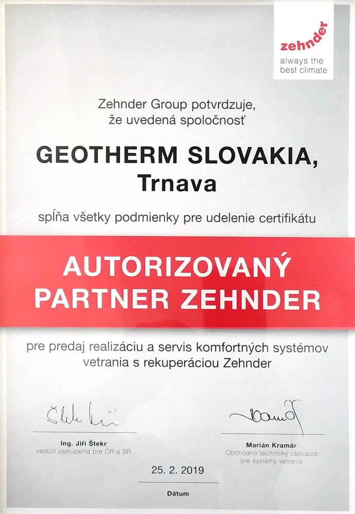 Geotherm autorizovaný partner Zehnder ocenenie